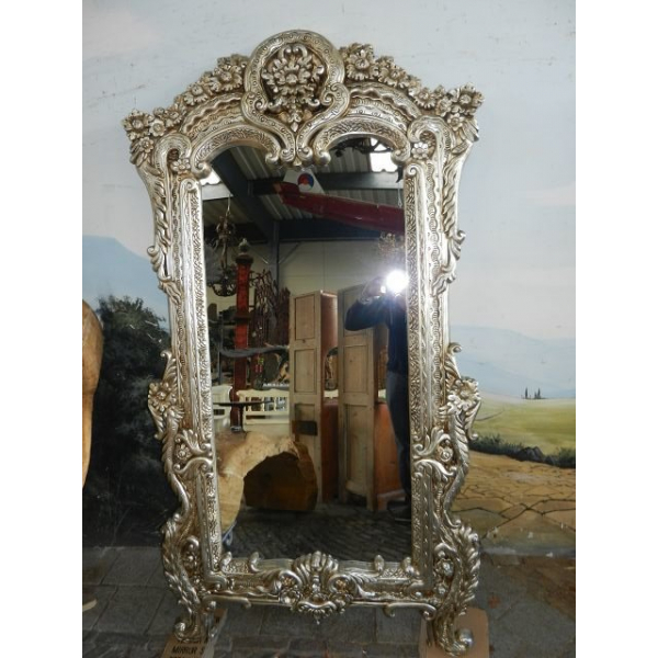 10022 Spiegel Wandspiegel Barock Silber 1,13 m x 2,04 m