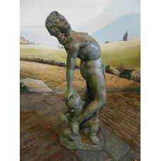 10319 Skulptur Figur Frau mit Kind Bronze 1,08 m