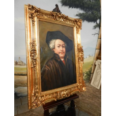 10478 Painting with baroque frame 0.90 m x 1.20 m