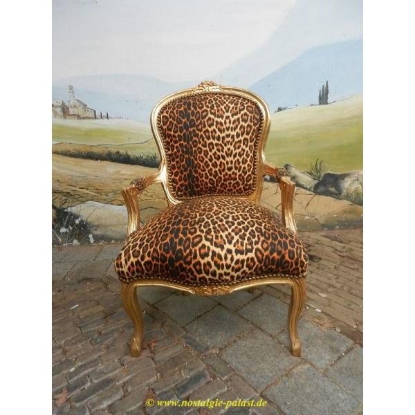 11955A Stuhl Leopard Barockstil