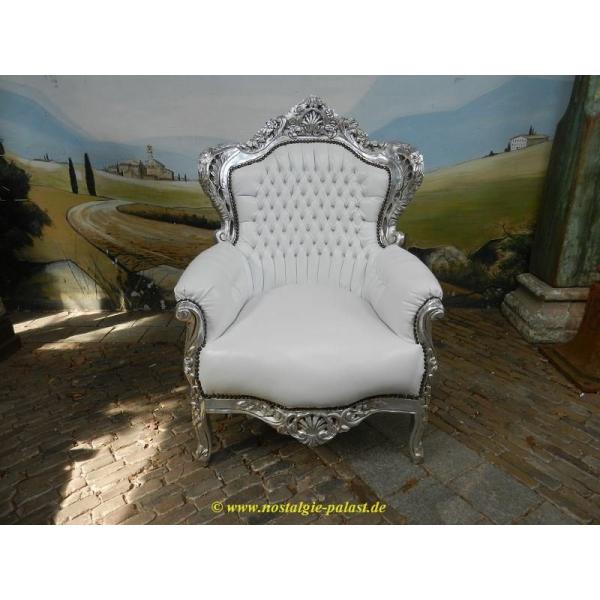 Barok Fauteuil Wit.11960 Barokstoel Barok Fauteuil Zilver Wit