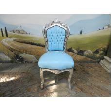 11962A Stuhl Hellblau-Silber Barockstil