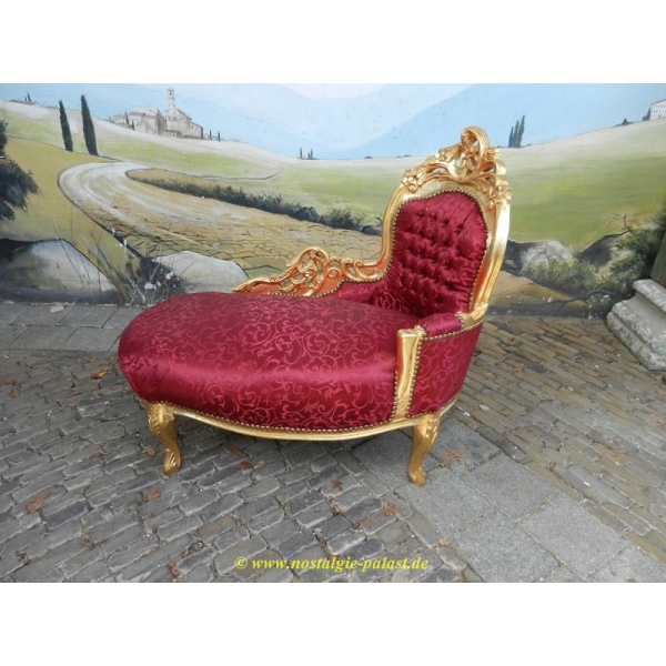 11967A Chaiselongue Rot-Gold Barockstil 1,05 m
