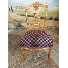 12446 Chair Gold - Purple spots