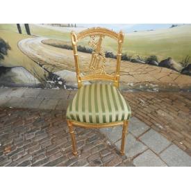 12448 Chair Gold - Green stripes