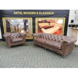 12838 Chesterfield Couchgarnitur Sofa + Sessel Leder Braun