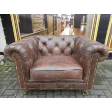 12838b Chesterfield Sessel Leder Braun 1,13 m