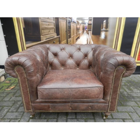 12838b Chesterfield Armchair - Leather Brown 1.13 m