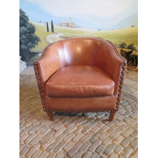13847 Lounge chair - Leather Brown 0.76m