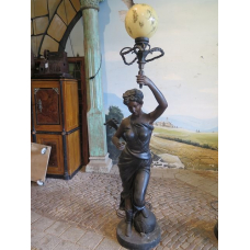 13870 Floor lamp woman with lute - Bronze 2.10m