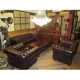 13996 Chesterfield Couchgarnitur Dunkelrot 3-2-1