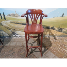 14046E Barstool with backrest - Cherry
