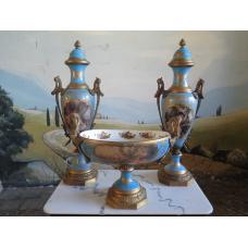 14185 Vasen Set mit Schale Blau-Gold Ø 0,15 m