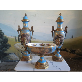 14185 Vase set with bowl - Blue / Gold Ø 0.15 m