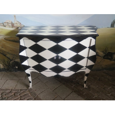 Baroque Chest of drawers Black White 1.10 m - 14722A