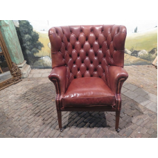 15375E Chesterfield Sessel Leder Rotbraun