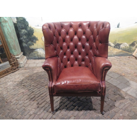 15375E Chesterfield Leather Armchair Brown