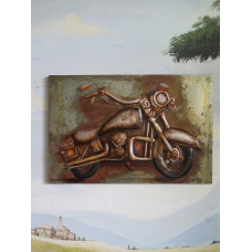 15471 Vintage Picture Metal Motorcycle 1.20 m x 0.80 m