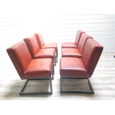 15860E Stuhl Esszimmerstuhl Industrial Design Leder Rotbraun