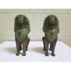 15968E Set Foo-Hunde Fu-Hund Buddhahunde Bronze 0,42 m