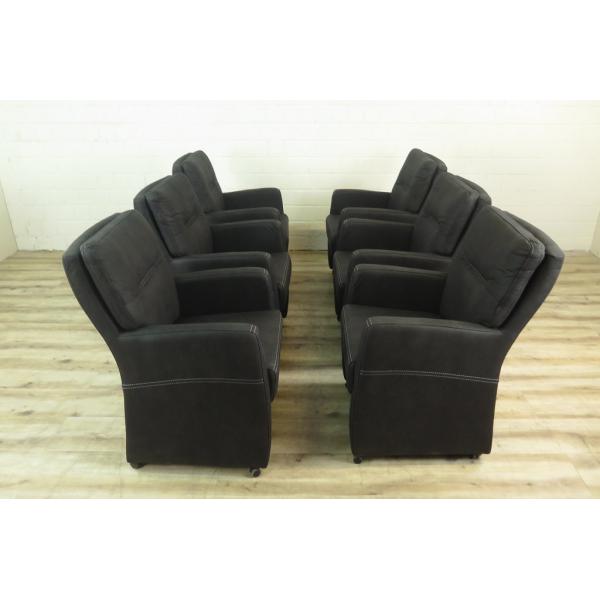 16024 stuhl sessel auf rollen pu leder anthrazit setpreis. Black Bedroom Furniture Sets. Home Design Ideas