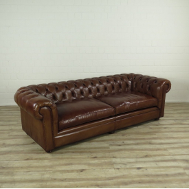 16089E Chesterfield Sofa Couch leather Brown 2.40 m
