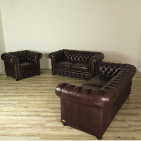 16101 Chesterfield Couchgarnitur Dunkelbraun 3-2-1
