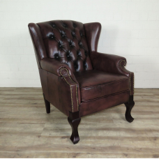 16102 Chesterfield Sessel Leder Dunkelbraun