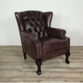 16102E Chesterfield Leather Armchair Dark Brown