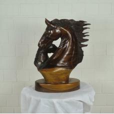 16165E Skulptur Dekoration Pferd mit Fohlen Teakholz 0,45 m