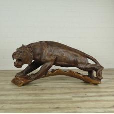 16166E Skulptur Dekoration Tiger Teakholz 1,45 m