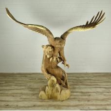 16174E Skulptur Dekoration Tiger & Adler Teakholz 2,10 m