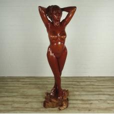 16176E Weibliche Akt Skulptur Teakholz 2,10 m