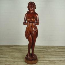 16177E Weibliche Akt Skulptur Teakholz 2,07 m