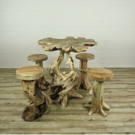 16178E Set Bar Table + 4 Bar Stools Teak