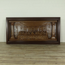 16246E Mural Wall Decoration Teak The Last Supper 2.50 m