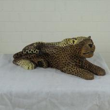 16255E Skulptur Dekoration Leopard Teakholz 0,93 m