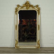 16339E Spiegel Wandspiegel Barock Altweiß 0,87 m x 1,61 m