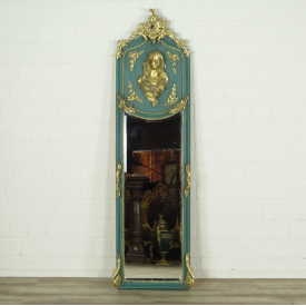 16340E Wall Mirror Baroque Turquoise 0.51 m x 1.77 m
