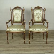 16346E Stuhl Satin Altweiß Barockstil
