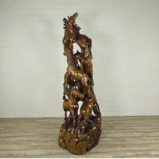 16371E Skulptur Dekoration Pferde Teakholz 2,30 m