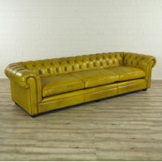 16607E Chesterfield Sofa Couch Leather Yellow 2.80 m