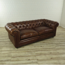 16692E Chesterfield Sofa Couch Leder Brown 2.10 m