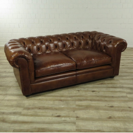 16693E Chesterfield Sofa Couch Leder Brown 1,90 m