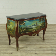 16720E Barokcommode, handbeschilderd, noten fineer