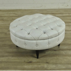 16762 Hocker Chesterfield Weiß Ø 0,85 m