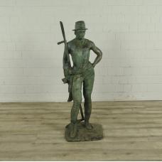 16782 sculpture figure bronze decoration farmer 1.27 m