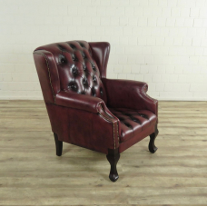 16848E Chesterfield Sessel Leder Rotbraun