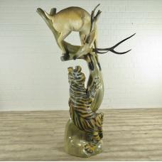 16858E Skulptur Dekoration Tiger & Hirsch Teakholz 2,02 m