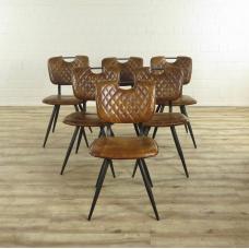 16944E Küchenstuhl Esszimmerstuhl Stuhl Cognac 6 Stück